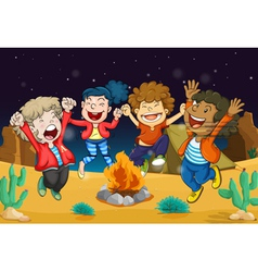 Boys near fire vector