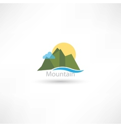 mountains symbol with sun and cloud vector image