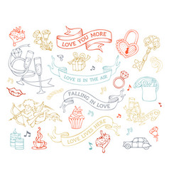set of love icons and signs vector image