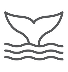whale tail line icon animal and underwater vector image