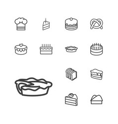13 bakery icons vector