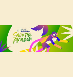 Animal day banner amazon forest squirrel monkey vector