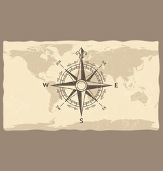 Antique compass on world map vintage geographic vector