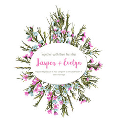 beautiful floral greeting card wedding vector image