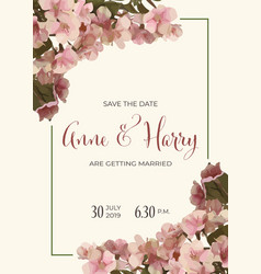 Beautiful floral wedding invitation in watercolor vector
