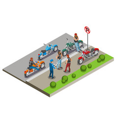 bikers meeting isometric composition vector image