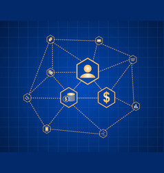 Block chain style background collection vector