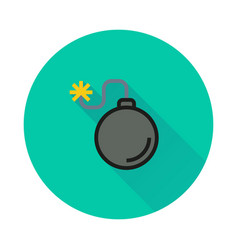 bomb icon on round background vector image