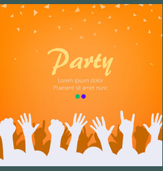 Bright orange party background group of people vector