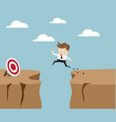 businessman jumping over cliff to target vector image