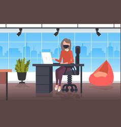 Businesswoman using laptop business woman wearing vector