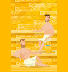 Caucasian men relaxing in sauna vector