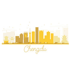 Chengdu city skyline golden silhouette vector