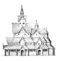 Church at hitterdal norway vintage engraving vector