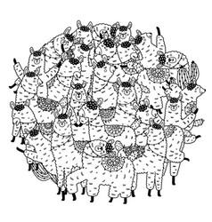 Circle shape coloring page with funny llamas vector