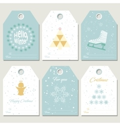 Collection Christmas gift tags vector image