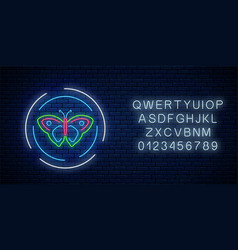 colorful batterfly glowing neon sign in round vector image