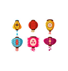 colorful chinese paper lanterns set festival vector image