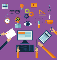 creative multimedia ideas icons vector image