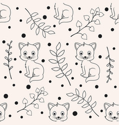cute seamless florals pattern with cat animals vector image