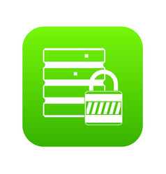 database with padlock icon digital green vector image