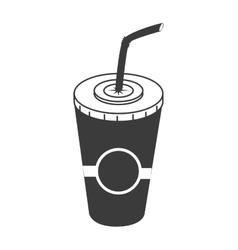 Drink on plastic cup icon vector