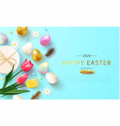 easter decorated eggs tulipsdaisies gift box vector image
