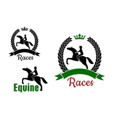 Equestrian sport symbols with horses and riders vector image
