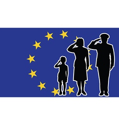 european union soldier family salute vector image
