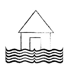 figure house flood to the water disaster weather vector image