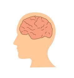 flat design human brain in head icon vector image