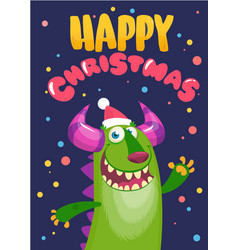 Funny cartoon christmas green monster character vector