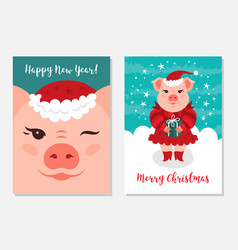 funny christmas pigs greeting cards merry vector image