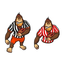 Gorilla player with rugby ball vector