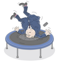 Government official jumping on a trampoline vector