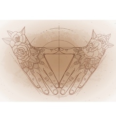 Graphic hands in shape triangle vector