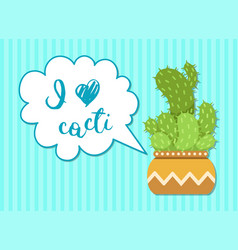 green cactus with speech bubble vector image