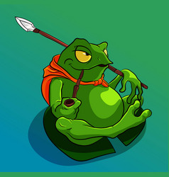 Green fat frog sitting on a leaf and smoking pipe vector
