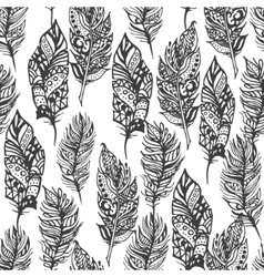 hand drawn entangle doodle black feathers vector image