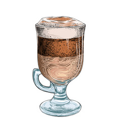 Hand drawn sketch latte in color isolated on vector