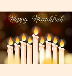 happy hanukkah poster design with candles vector image