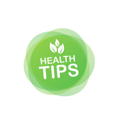 Health tips badge icon on white background stock vector