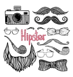 Hipster hair style accessories icons set vector
