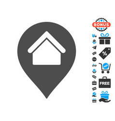 Home marker icon with free bonus vector