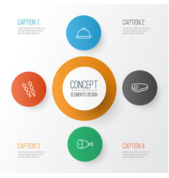 Icons set collection of stick batbecue dining vector