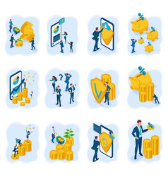 Isometric concepts investment deposit protection vector