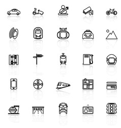 Land transport related line icons with reflect on vector image