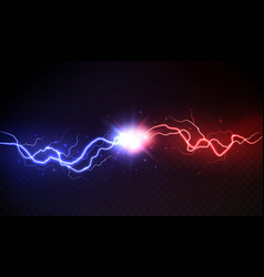 Lightning collision powerful colored lightnings vector