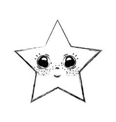 Line kawaii happy and cute star design vector