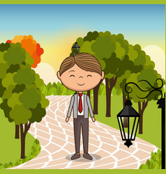 Man in love in the park vector